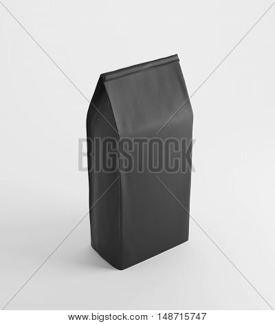 Black lunch paper bag standing against white background. Concept of healthy homemade food and eating at your workplace. 3d rendering mock up.