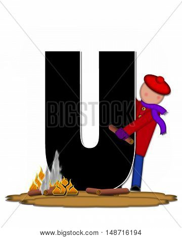The letter U in the alphabet set