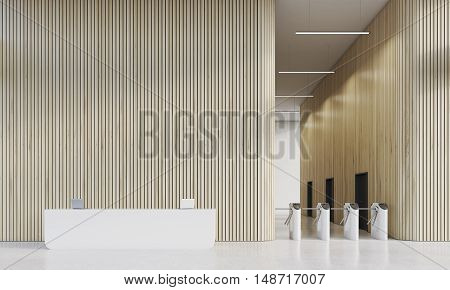 Reception And Turnstiles In Office With Wood Walls