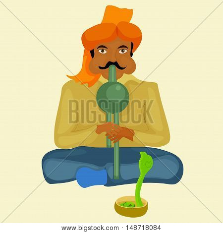Snake Charmer Playing The Instrument. Vector Illustration