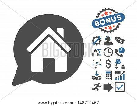 House Mention pictograph with bonus images. Vector illustration style is flat iconic bicolor symbols, cobalt and gray colors, white background.