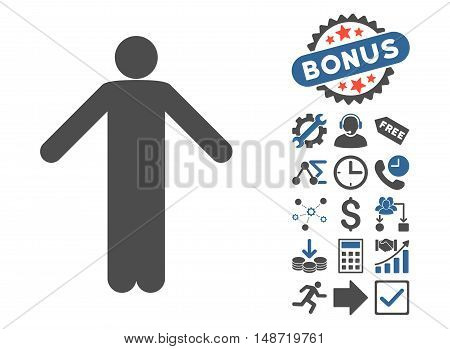 Ignorance Pose icon with bonus pictograph collection. Vector illustration style is flat iconic bicolor symbols, cobalt and gray colors, white background.