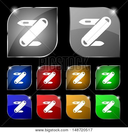 Pocket Knife Icon Sign. Set Of Ten Colorful Buttons With Glare. Vector