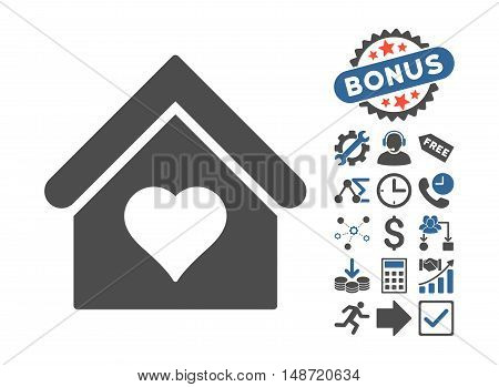 Love House pictograph with bonus elements. Vector illustration style is flat iconic bicolor symbols, cobalt and gray colors, white background.