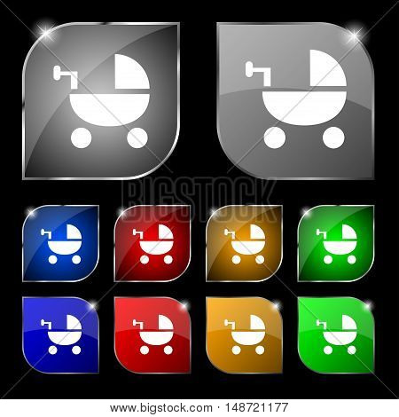 Baby Stroller Icon Sign. Set Of Ten Colorful Buttons With Glare. Vector