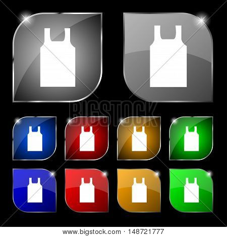 Working Vest Icon Sign. Set Of Ten Colorful Buttons With Glare. Vector
