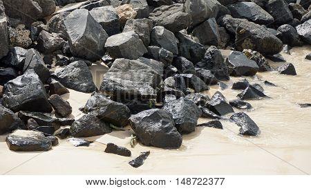 granite rocks on sal islands coast on sal island