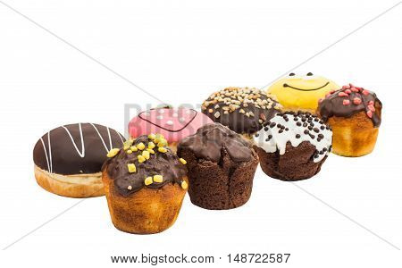 Colorful delicious donuts isolated on white background