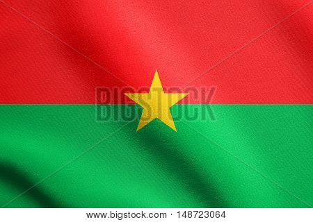 Burkina Faso national official flag. African patriotic symbol banner element background. Flag of Burkina Faso waving in the wind with detailed fabric texture, illustration