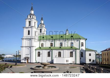 Side view of Cathedral of the Descent of the Holy Spirit in Minsk Belarus