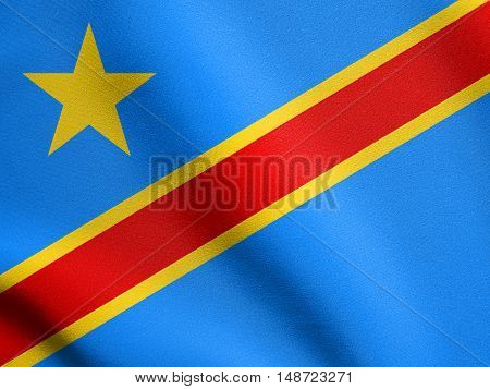 DR Congo national official flag. African patriotic symbol banner element background. Flag of Democratic Republic of the Congo waving in the wind with detailed fabric texture, illustration