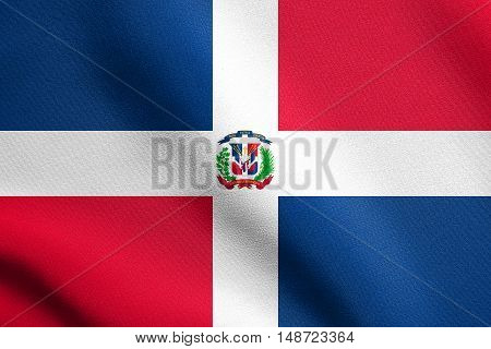 Dominican Republic national official flag. Patriotic symbol banner element background. Flag of Dominican Republic waving in the wind with detailed fabric texture, illustration