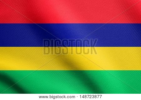 Mauritian national official flag. African patriotic symbol banner element background. Flag of Mauritius waving in the wind with detailed fabric texture, illustration