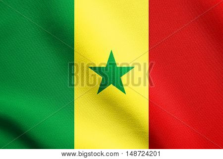 Senegalese national official flag. African patriotic symbol banner element background. Flag of Senegal waving in the wind with detailed fabric texture, illustration