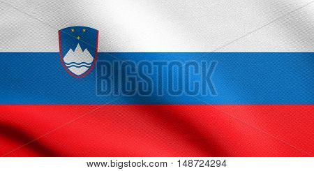 Slovenian national symbol. Patriotic background design. Flag of Slovenia waving in the wind with detailed fabric texture, illustration
