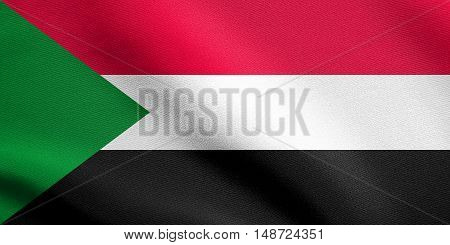 Sudanese national official flag. African patriotic symbol banner element background. Flag of Sudan waving in the wind with detailed fabric texture, illustration