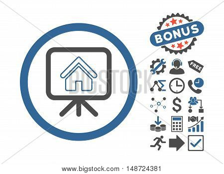 Project Slideshow icon with bonus pictogram. Vector illustration style is flat iconic bicolor symbols, cobalt and gray colors, white background.