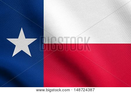 Texan official flag symbol. American patriotic element. USA banner. United States of America background. Flag of the US state of Texas waving in the wind with detailed fabric texture, illustration