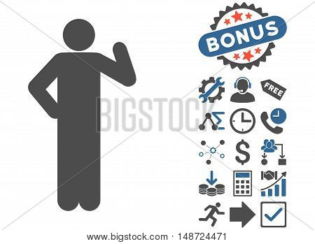 Proposal Pose icon with bonus pictogram. Vector illustration style is flat iconic bicolor symbols, cobalt and gray colors, white background.