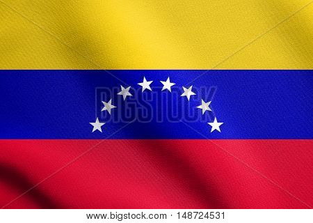 Venezuelan national official flag. Bolivarian Republic of Venezuela patriotic symbol banner element background. Flag of Venezuela waving in the wind with detailed fabric texture, illustration