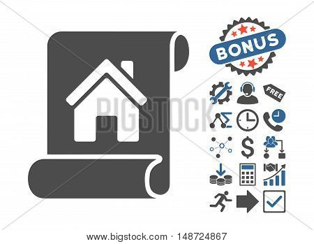 Realty Description Roll icon with bonus pictures. Vector illustration style is flat iconic bicolor symbols, cobalt and gray colors, white background.