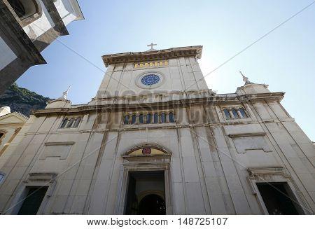 POSITANO ITALY - MAY 22 1916 - church of saint Mary( Chiesa di Santa Maria in positano city in amalfitana coast in italy