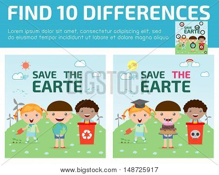 find differences,Game for kids ,find differences,Brain games, children game, Educational Game for Preschool Children, Vector Illustration, Kids for Saving Earth
