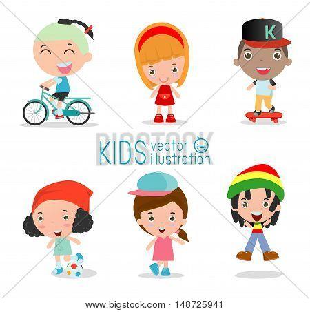 Set of diverse kids isolated on white background. Different nationalities and dress styles. European children, America's Children, Asian children,African children, happy children,Vector Illustration