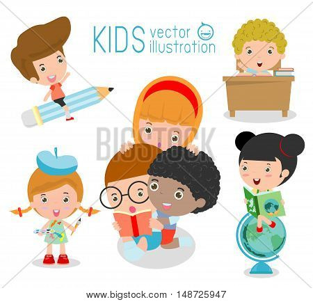 happy cartoon kids in classroom, education concept, back to school template with kids, Kids go to school, back to school