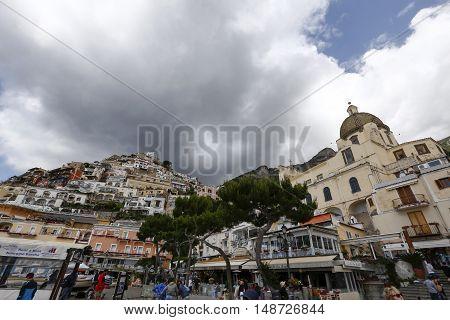 POSITANO ITALY - MAY 22 1916 - view of positano city in amalfitana coast in italy