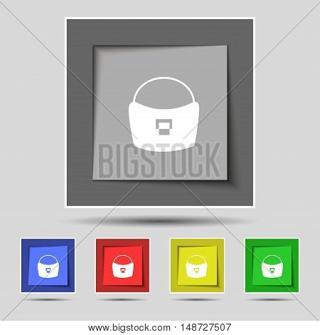 Woman Hand Bag Icon Sign On Original Five Colored Buttons. Vector
