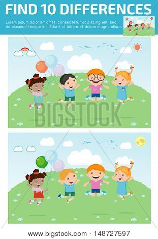 find differences,Game for kids ,find differences,Brain games, children game, Educational Game for Preschool Children, Vector Illustration, Kids jumping with joy , happy jumping kids.