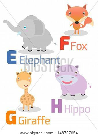 Cute alphabet with funny animals from E to H , Illustration of alphabet with animals E F G H ,elephant, fox, giraffe,hippo, Funny cartoon animals on white background, Vector Illustration.