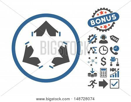 Tent Camp pictograph with bonus pictures. Vector illustration style is flat iconic bicolor symbols, cobalt and gray colors, white background.