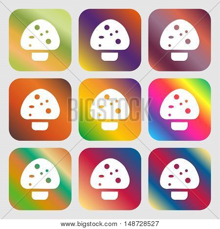 Mushroom Icon Sign. Nine Buttons With Bright Gradients For Beautiful Design. Vector
