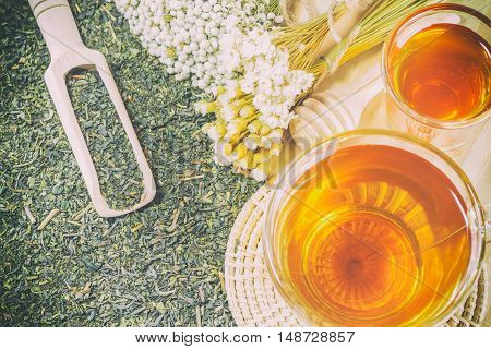 A Cup Of Tea On The Wood Table. You Can Apply For Background,backdrop,wallpaper Including Website De
