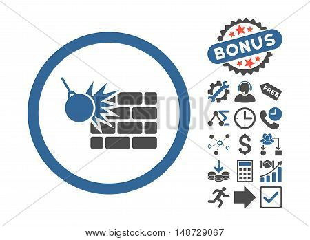 Wall Destruction icon with bonus elements. Vector illustration style is flat iconic bicolor symbols, cobalt and gray colors, white background.