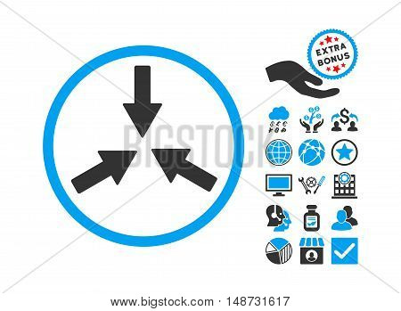 Collide Arrows pictograph with bonus pictograph collection. Vector illustration style is flat iconic bicolor symbols, blue and gray colors, white background.