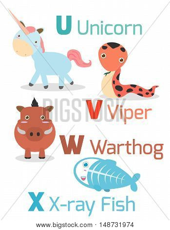 Cute alphabet with funny animals from U to X , Illustration of alphabet with animals U V W X ,unicorn,viper, warthog, x-ray fish, Funny cartoon animals on white background, Vector Illustration.