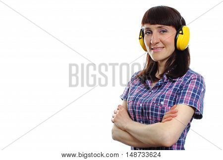 Female construction worker wearing protective headphones safety at work and ear protection copy space for text. Isolated on white background