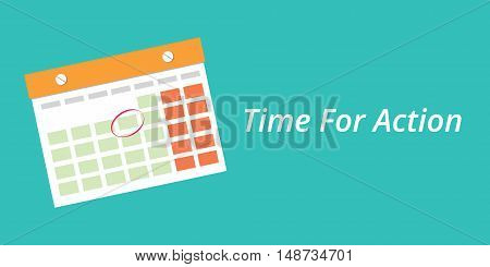 time for action concept with a calendar blue background vector graphic illustration