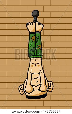 art prisoner army man on cement wall cartoon illustration