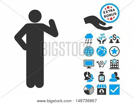Proposal Pose pictograph with bonus clip art. Vector illustration style is flat iconic bicolor symbols, blue and gray colors, white background.