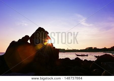 Beach Sunset Flare Silhouette