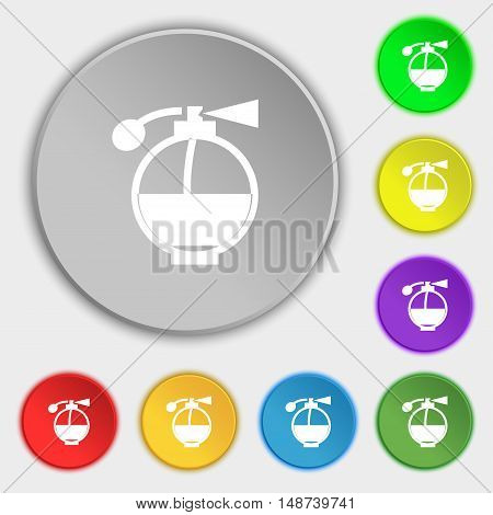 Perfume Icon Sign. Symbol On Eight Flat Buttons. Vector