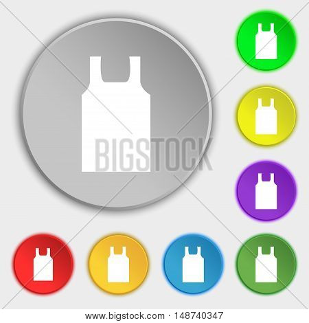 Working Vest Icon Sign. Symbol On Eight Flat Buttons. Vector