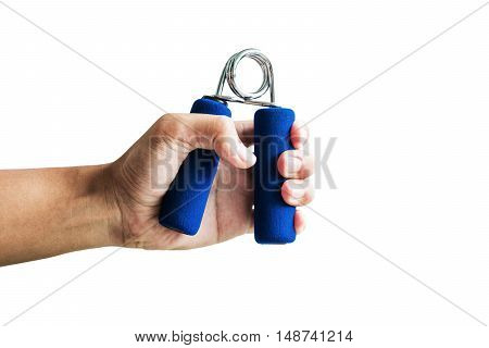 Close-up a man hand exercise by using hand gripper, isolated on white background