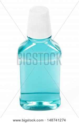 Classic blue mouthwash isolated on a white background