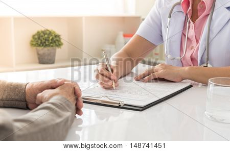 doctor notes history of treatment patient and consulting