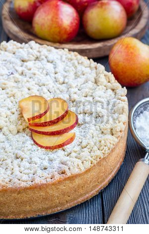 Homemade plum shortbread pie with streusel on wooden table vertical